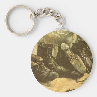 3 Pairs of Shoes, Vincent van Gogh, Vintage Art Basic Round Button Keychain