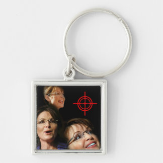 3 Palin Bullseye Silver-Colored Square Keychain