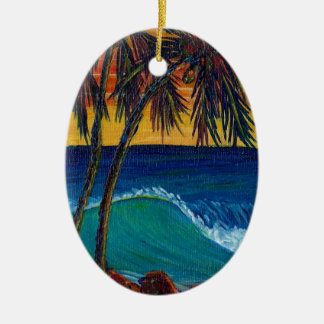 3 palm sunset christmas tree ornament