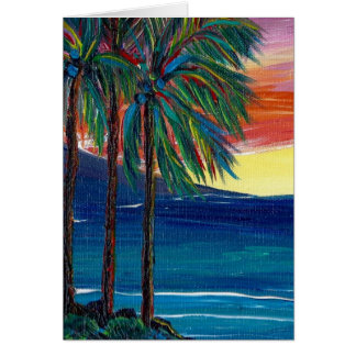 3 palm sunset greeting card