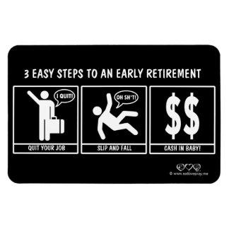 3 pasos fáciles a la jubilación anticipada imán rectangular