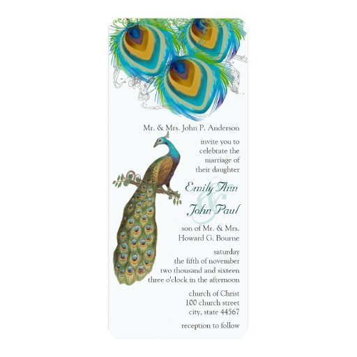 3 Peacock Feathers Art Deco Wedidng Invite