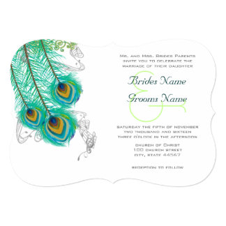 3 Peacock Feathers  Wedidng Invite