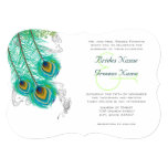 """3 Peacock Feathers  Wedidng Invite 5"""" X 7"""" Invitation Card"""