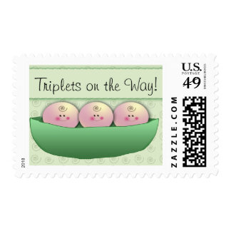 3 peas in a pod triplet baby shower postage stamp