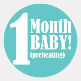 """3"""" PEGATINA redondo - 1 mes de embarazada"""