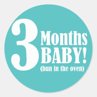 "3"" PEGATINA redondo - 3 meses de embarazada"