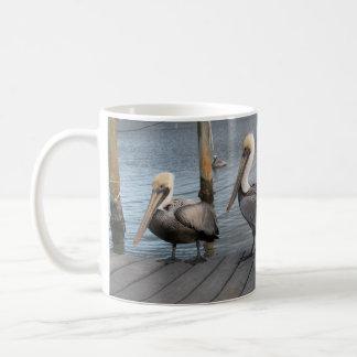 3 Pelicans in a row Coffee Mug