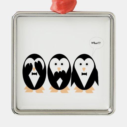 3 penguin square metal christmas ornament