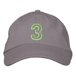 """3"" pequeño número atlético gorras bordadas"