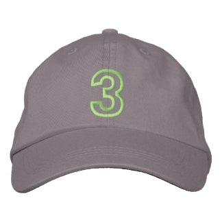 """""""3"""" pequeño número atlético gorros bordados"""