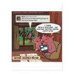 3 pequeños cerdos sociales de la comprensión de lo tarjeta postal