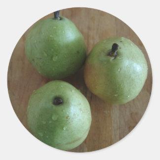 3 peras verdes pegatina redonda