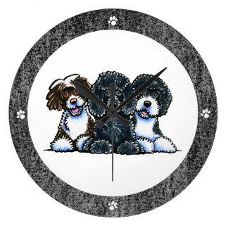 3 perros de agua portugueses reloj redondo grande