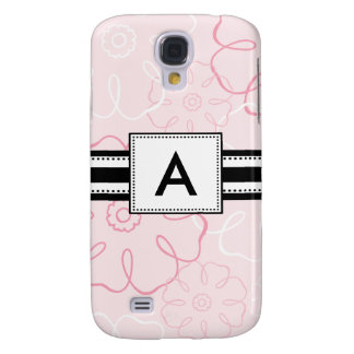 3 - Personalized Pink Floral Samsung Galaxy S4 Cover