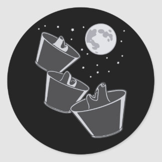 3 Pet Wolves Moon Classic Round Sticker