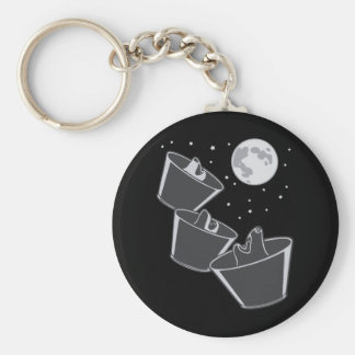3 Pet Wolves Moon Keychain