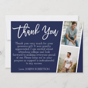 3 Photo (2+1) Script Graduation Thank You Card
