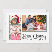 "3 Photo/ 2 Sided ""Merry Christmas""  Holiday Card"