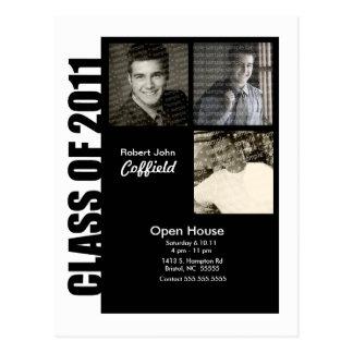 3 photo black and white grad card postcard