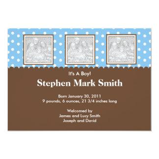 "3 Photo Blue and Brown Birth Announcement 5"" X 7"" Invitation Card"