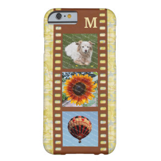3 Photo Camera Filmstrip Old Map and Monogram Barely There iPhone 6 Case
