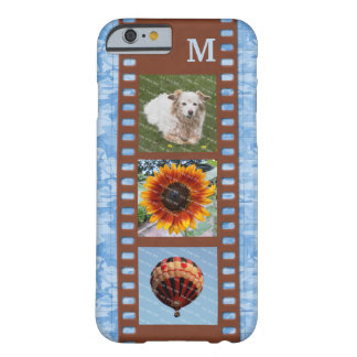 3 Photo Camera Filmstrip Old Map Monogram Blue Barely There iPhone 6 Case