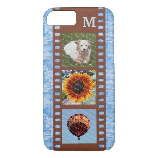 3 Photo Camera Filmstrip Old Map Monogram Blue iPhone 8/7 Case