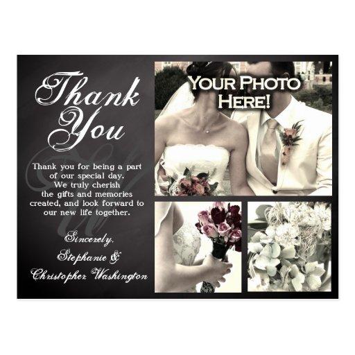 photo chalkboard custom wedding thank you card postcard zazzle