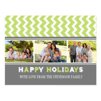 3 Photo Chevron Happy Holidays Postcards Green