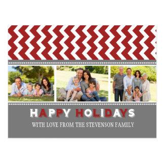 3 Photo Chevron Happy Holidays Postcards Red