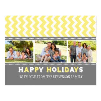 3 Photo Chevron Happy Holidays Postcards Yellow