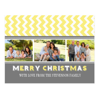 3 Photo Chevron Merry Christmas Postcards Yellow