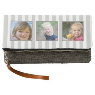 3 photo clutch, gray stripe, you can change color! clutch