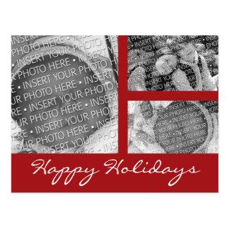 3 photo Collage Christmas Holiday Photo Postcard