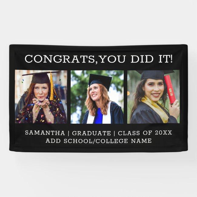 3 Photo Collage Congrats Graduate 2021 Graduation Banner