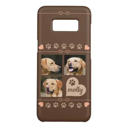 3 Photo Collage Dog Name Brown Heart Phone Case