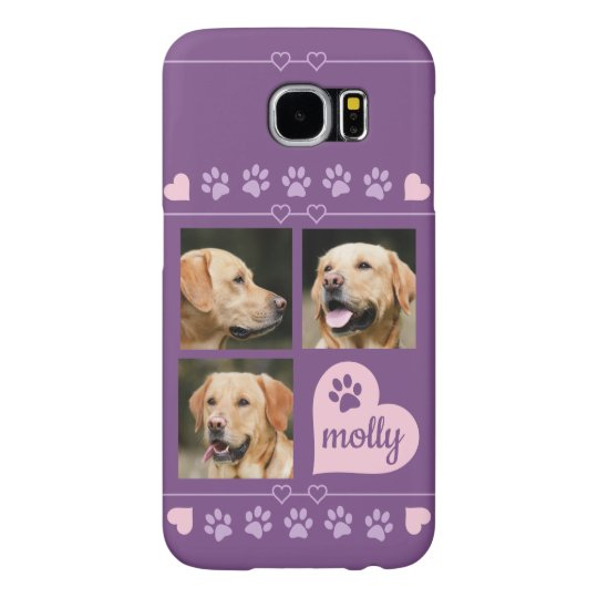 3 Photo Collage Dog Name Pink Purple Heart Samsung Galaxy S6 Case