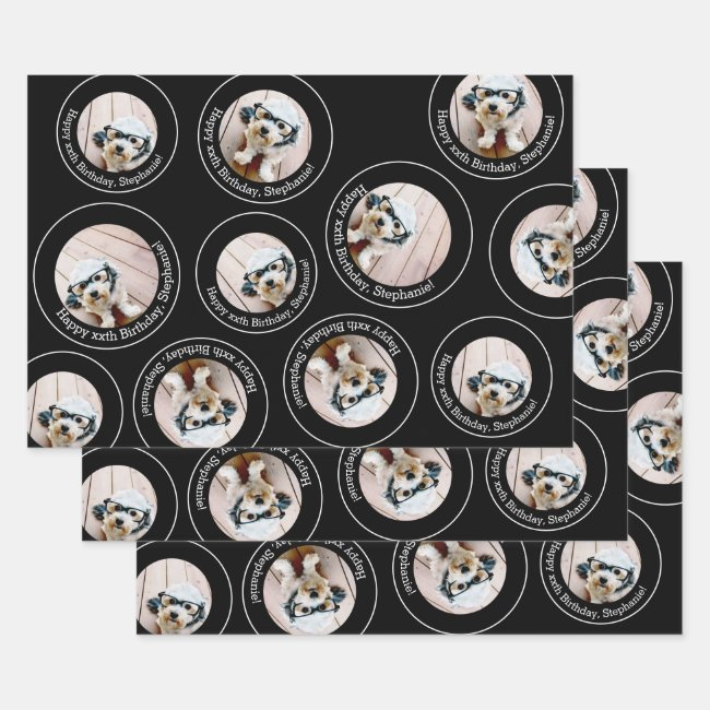 3 photo Collage Happy Birthday Circles Wrapping Paper Sheets