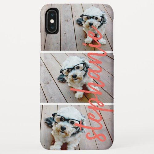 3 Photo Collage - Horizontal Pics Colorful Name Phone Case