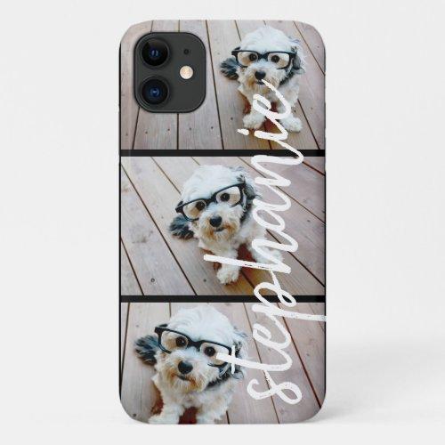 3 Photo Collage - Horizontal Pics with Custom Name iPhone 11 Case