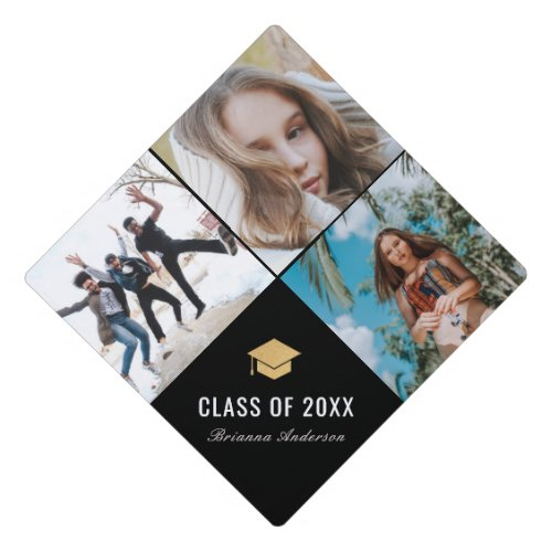 3 Photo Collage Simple Black Graduation Cap Topper