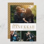 """3 Photo Collage Simple Modern Gold Hanukkah Photo Holiday Card<br><div class=""""desc"""">This beautiful three photo collage Hanukkah card features simple,  elegant text in gold over a white background. The back of the card contains a modern geomettric diamond pattern. For design or product inquiries,  please contact me (Tracey) at orabellaprints@outlook.com.</div>"""