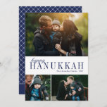 """3 Photo Collage Simple Modern Navy Hanukkah Photo Holiday Card<br><div class=""""desc"""">This beautiful three photo collage Hanukkah card features simple,  elegant text in navy blue over to white background. The back of the card contains a modern geomettric diamond pattern. For design or product inquiries,  please contact me (Tracey) at orabellaprints@outlook.com.</div>"""