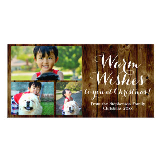 3 Photo Country Christmas Warm Wishes Vintage Photo Card