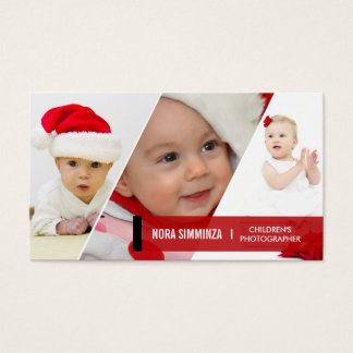 3 Photo Diagonal Business Cards