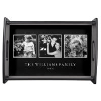 3-Photo Family Collage Personalized Serving Tray