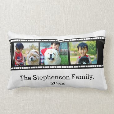 3-Photo film strip personalized photo Lumbar Pillow