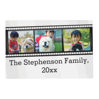 3-Photo film strip personalized photo Laminated Placemat