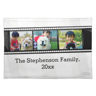 3-Photo film strip personalized photo Cloth Placemat